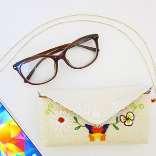 Flower Butterfly - Detachable Necklace Handle Dual-Use Embroidered Glasses Case & Mobile Phone Bag Hand drawn