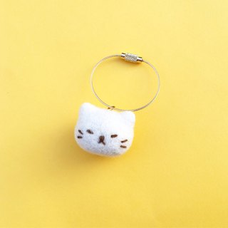Wool Felt Kitty Dumplings Keychain Bag Hanging Black Cat White Cat