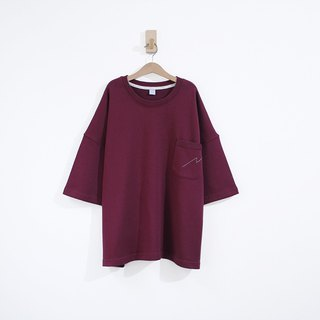 Lightning Line Pocket Cotton Super Thick Cotton Five-Sleeve Top - Jujube