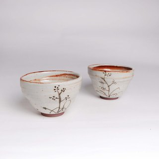 Shino Iron Paint Flower and Grass Fu Cup / Fu Bowl