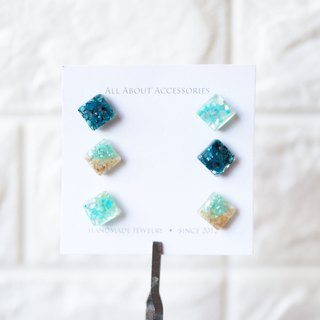 Summer Ocean Series - Small Square Shell Gravel 6 Piece Earrings