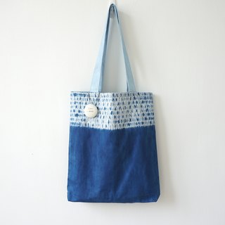 S.A x Blue Straw, Indigo dyed Handmade Abstract Pattern Tote Bag