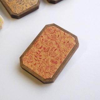 Copper engravings and wood brooch <Wildflowers> Gold × Red