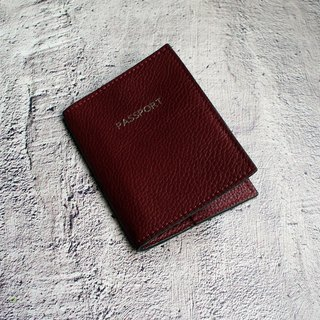 My little trip - wine red leather passport this passport suit passport folder