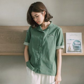 Forest Lakeside Stand Collar Short Sleeve Shirt - Sen Trail