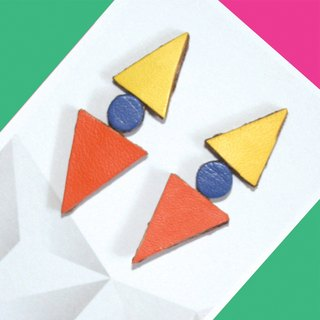 Sonniewing's Geomertic Stud Leather Earrings