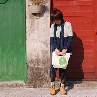 Bag / lunch bag / sports bag ► Canada fluf organic cotton green with handbags - small pears