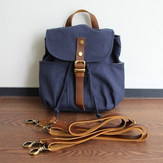 MINI BACKPACK / LEATHER STRAP / CONVERTIBLE DRAWSTRING BACKPACK / SLING BAG
