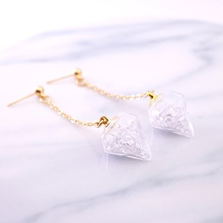 Diamond Shape with White Crystal Glass Ball Earrings