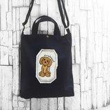 貴賓 黑色-A4手工車縫印製 帆布手提袋/斜背袋/肩背袋
