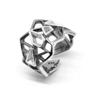 WIREFRAME Ring / Black - 18K White Gold  (2-tones)