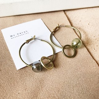 Glass Bubble_Brass Earrings_Light Ancient (Changeable Clip)