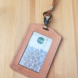[喵] Hand-stitched vegetable tanned leather ID holder _ original leather color attached lanyard clip card holder identification card
