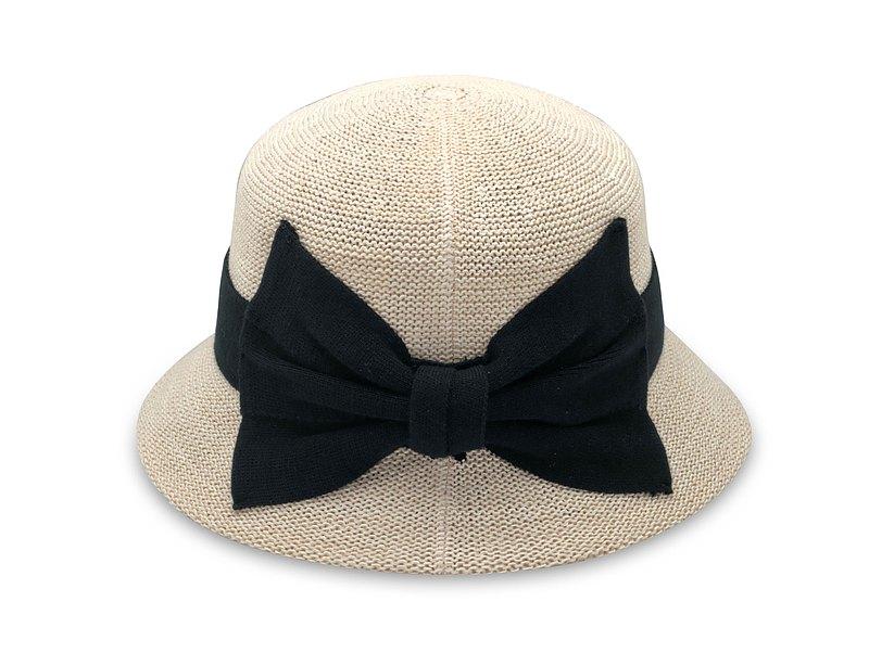 英倫蝴蝶結淑女帽-米白 針織帽 紙線編織 可水洗 台灣製