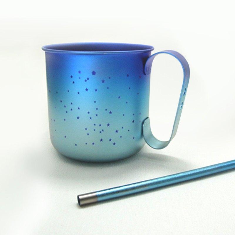 【日本製 Horie】鈦愛地球組合-純鈦馬克杯-霜降藍+純鈦吸管-青湛藍