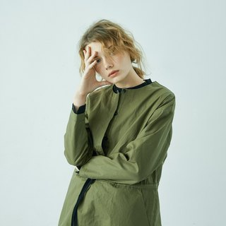 Army green cotton long trench coat