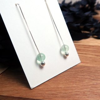 Green Flute Venice Long Chain Earrings (Large) Natural Stone Earrings in Sterling Silver