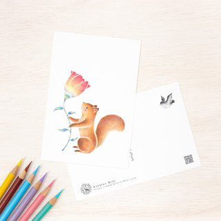 "4 pieces set. Like a picture book. Postcard ""Tete of Squirrel and Flower"" PC-334"