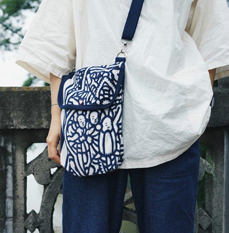 溫州藍夾纈 藍靛染織布 背帶可調節 單肩斜挎隨行小背包側背包