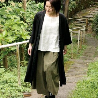 Linen's long cardigan coat