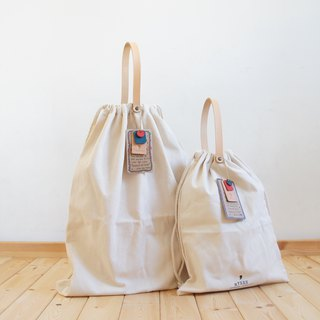Leather strap canvas drawstring bag canvas bag tote bag