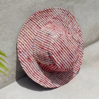 A limited edition hand-woven cotton saris line cap / knit cap / hat / straw hat / straw hat - color gradient hand twisted wire sari