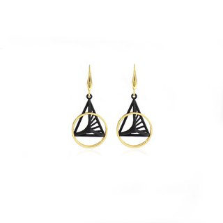 【String Art】3D Printed Geometrical Pyramid with Cylindrical  Earrings (Gold)