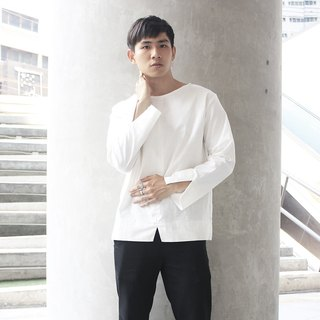 'Andreas' Crescent Long Sleeve Top (White)