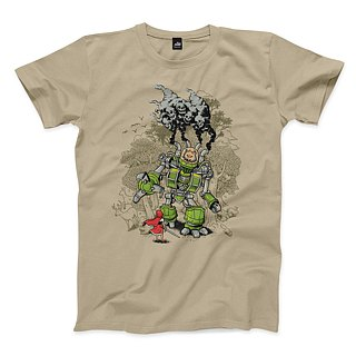 Brave Warrior Wolf - Khaki - Neutral T-Shirt
