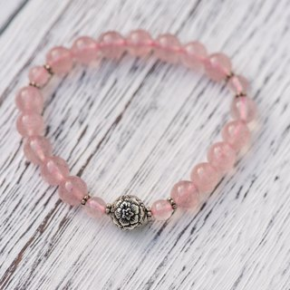 【Woody's Handmade】 edge to happiness. Strawberry crystal single layer bracelets. Fate and Happiness - Strawberry quartz