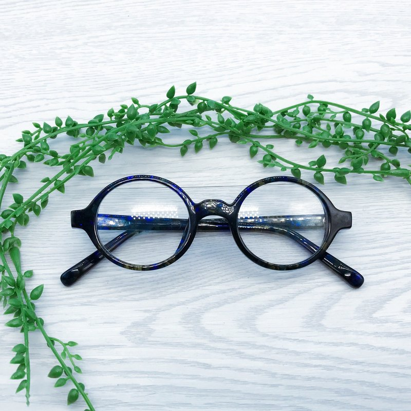 Glazed Blue Oval round Shape eyeglasses frame eyewear Handmade in Japan