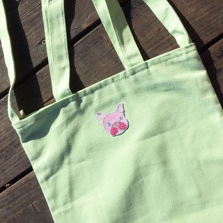 【Beginning of the course】 sharp Xili pink color fighting - light green university / double cloth / inner bag / zipper / dual canvas bag