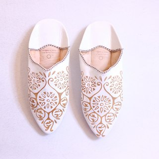 Moroccan leather carved hand shoes white tread shoes indoor shoes