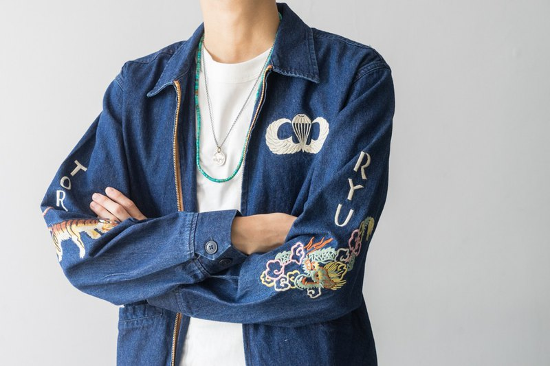 Japanese match American retro Fujiyama embroidery denim Yokosuka jacket coat denim jacket