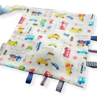 Taggie Blanket,Rattle Toy,Workinng Cars,Super Soft Cotton,Tag Blankie,Baby Boy Comforter,