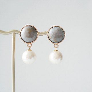 Gray Marble acrylic beads cabochon and cotton pearl, clip on earrings 夾式