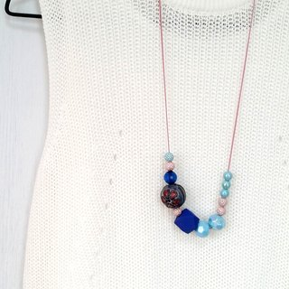 Amusing Blue Pink Beaded Long Chain Necklace