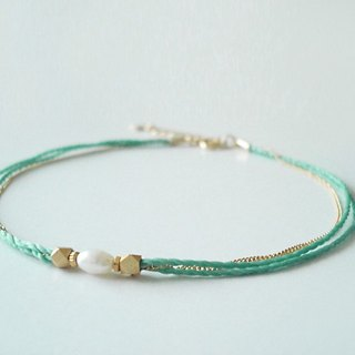 fresh water pearl and metal beads, cord anklet (emerald green)