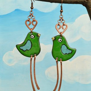 Enamel Earrings, Enamel Jewelry, Green Bird Earrings, Greenfinch, Bird Earrings
