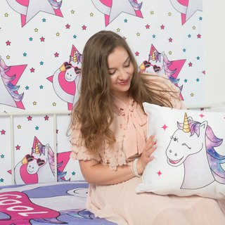 Free Shipping Worldwide - Wink Magical Unicorn - The Perfect Bedroom Pillow For Unicorn Lovers - Cute Decorative Pillow 18x18 inches