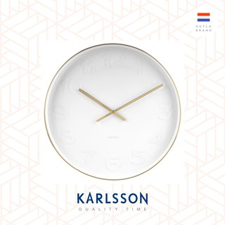 荷蘭Karlsson wall clock 51cm Mr.White numbers w.brushed gold case