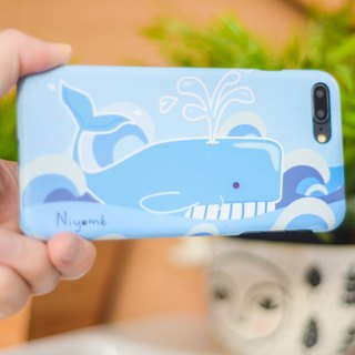 a Soft blue whale iphone case for iphone5s, 6s, 6s plus, 7, 7+, 8, 8+, iphone x