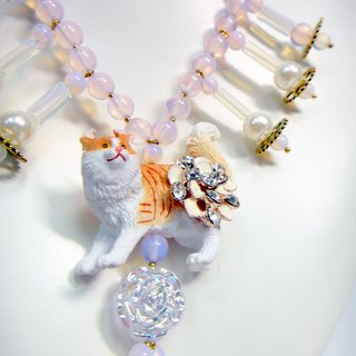TBL cat pink protein crystal necklace