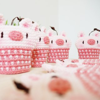 Knitted key cover - Cute Pig