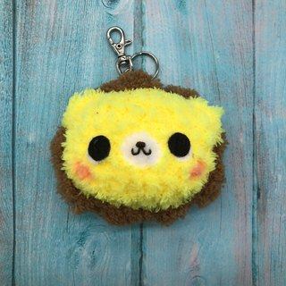 Lion - chubby wool animal key ring charm