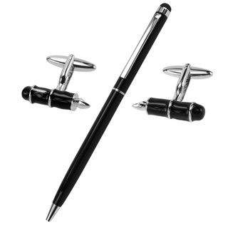 Black Pen Cufflinks and Pen Set