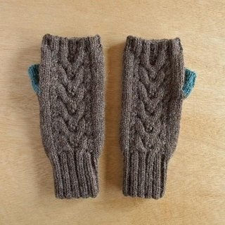 Alpaca Wool's Allan Hand Warmer Brown x Turquoise Blue Made-to-order Production