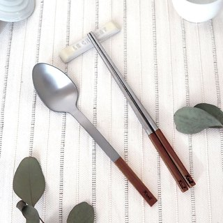 [KROLL] Pure titanium household cutlery set (chopsticks + tablespoons) Walnut