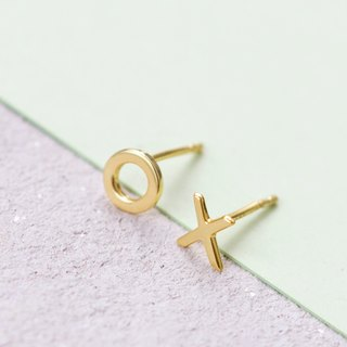 Love and Kisses Ear Studs in Brass with 14k Yellow Gold plating