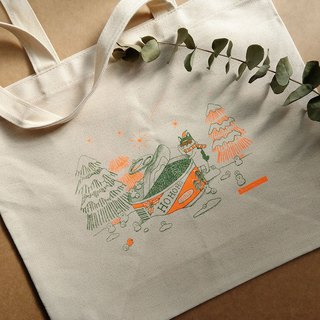 (Pre-order) Christmas cans - hand-printed canvas green shopping bag